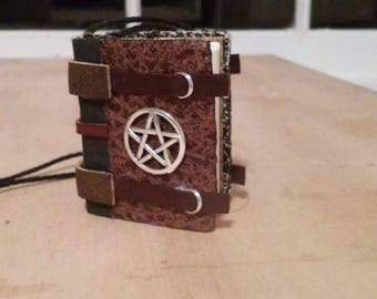 Pentagram spellbook necklace