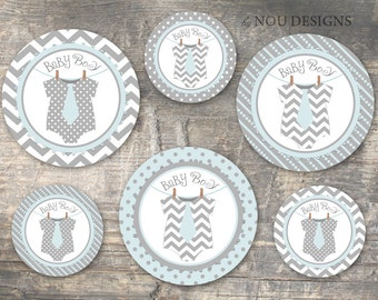 Tie Onesie on Clothesline Round Labels- Printable File