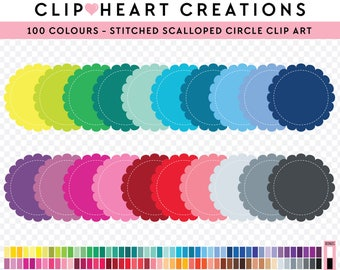 100 Stitched scalloped circle Clipart, Commercial use, PNG,  Digital clip art, Digital images, Rainbow digital scrapbooking clip art,