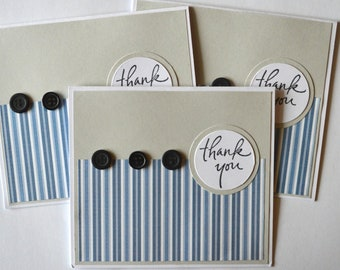 Blue and Gray stripped Thank You Cards