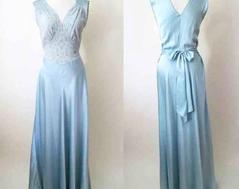 Stunning 1940's Silk Satin Bias Cut Gown with hand stitching and applique Old Hollywood Glamor Pinup Girl VLV rockabilly size medium