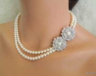 Pearl Necklace, Bridal Pearl Necklace, Bridal Rhinestone Necklace, Pearl Rhinestone Necklace, wedding pearl Necklace, crystal necklace, LARA