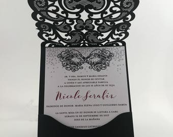 Quinceanera Invitations. Red and black quince invite. Laser Cut Invitation. Glitter Quinceanera Invite.