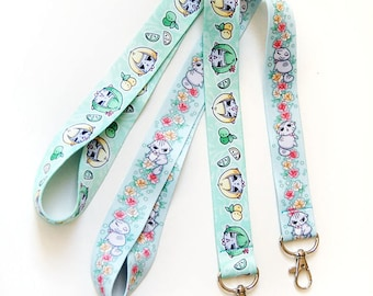 Angry Cat Floral and Melon Lanyard