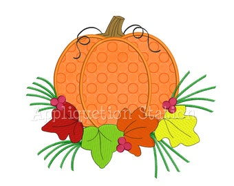 Fall Pumpkin with Leaves Applique Machine Embroidery Design Fall Harvest Thanksgiving AutumnINSTANT DOWNLOAD