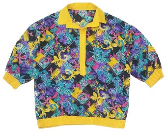 Abstract Yellow Purple Blue Top L
