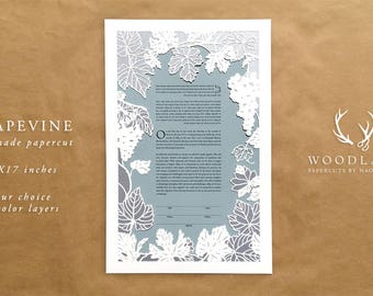 Grapevine papercut ketubah | wedding vows | Quaker certificate | anniversary gift