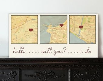 Gift for Husband Wife Map Canvas Gift 1st anniversary Gift  Map canvas 3 locations , Cotton Anniversary Gift Custom Map Art