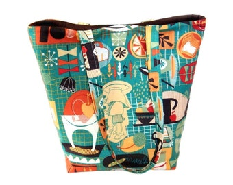Retro Kitchen Tote Bag, Teal Cloth Purse, Handmade Handbag, Kitsch Shoulder Bag, Kitschy Fabric Bag