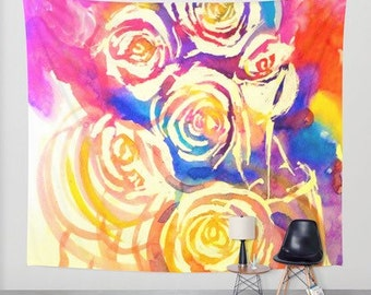 Abstract Colorful Floral Watercolor Wall Hanging Art Tapestry. Rainbow Flower Rose Painting Wall Tapestry Wall Art  Pretty Home Dorm Decor