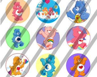 Care Bears digital collage sheet 4x6 for bottlecaps - 1 inch - INSTANT DOWNLOAD