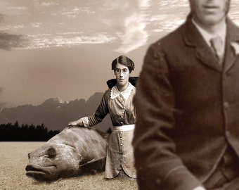 Sepia Collage Surreal Landscape Victorians Clouds Man and Wife Giant Fish Photographic Collage Print