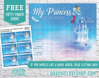 Printable Disney Princess Cinderella Potty Training Chart, FREE Punch Cards | Digital JPG Files, Instant download, NOT Editable, You Print