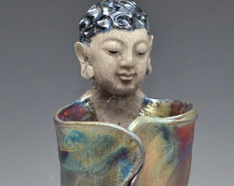 Abstract Standing Buddha Figurative Sculpture in Raku Ceramics