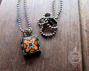 Tile charm necklace, California Arts and Crafts movement, California bungalow, Malibu tile, Mission Revival necklace