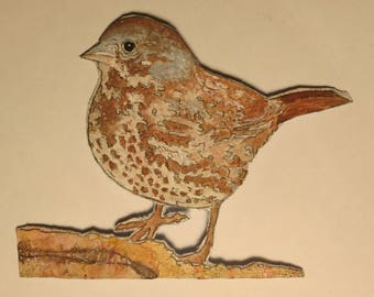 Fox Sparrow 1: hand drawn and painted papier mache wall piece