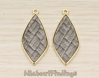 PDT1560-02-G-GR // Glossy Gold Plated Gray Colored Synthetic VELVET Covered Organic Diamond Pendant, 1 Pc