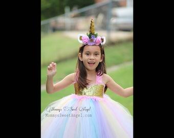 Rainbow tutu dress. Pageant tutu dress. Flower girl tutu dress. Pastel rainbow dress. Unicorn tutu dress. Flower girl dress. Birthday tutu