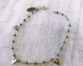 Tiny ZIA bracelet- turquoise/ gold triangle