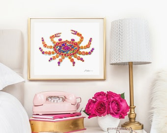 Crab Watercolor Brooch Rendering in Yellow Gold with Opal, Rubies, Sapphires and Citrines printed on Paper