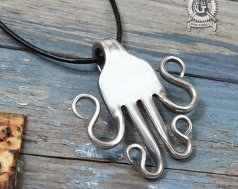 Curled Fork Pendant - Handmade From an Antique Sterling Silver Plated Fork - A Doctor Gus Recycled Creation - Upcycled Silverware Jewelry