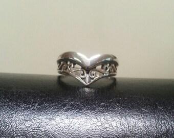 Reserved filegree ring,scroll,sterling silver,v ring,gothic,art nouveau, victorian,vintage,handmade,designer,boho,gypsy,hipster,