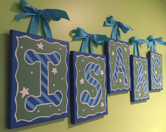 Hand painted personalized letter or initial painting on canvas - blue and green with stars