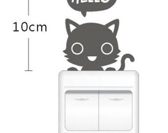 Sticker cat switch decoration (set of 2)
