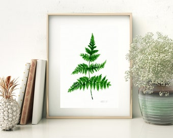 Farn botanische Kunstdruck von original Aquarell-Malerei, Farn verlassen Werk, Wendekreis Illustration Farn ist die nationale Anlage von Neuseeland