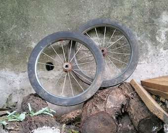 Vintage Salvage Rusty Wagon Wheels Rubber Tire Set of Two