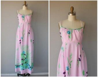 Vintage 1970s Maxi Dress | 70s Maxi Dress | 1970s Dress | 70s Floral Print Dress | Jersey Maxi Dress | 1970s Sun Dress - (x-small/ small)