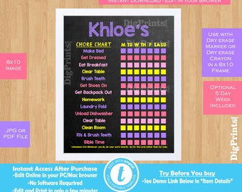Chore Chart for kids Chore Chart Printable Chore Chart Dry Erase Chore Chart Toddler Responsibility Chart Girls Chore Chart Kids Chore Chart