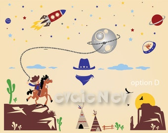 Cowboys and Aliens Wall Stickers - Western and Space Odyssey Wall decals - Space Rangers and Aliens - PLS020