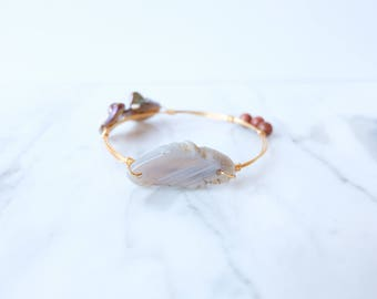 The Lilou Bangle - Ivory and Rust Wire Wrapped Stone Bangles, Wire Wrapped Bracelet, Stone Bangle, Stone Bracelet, Stackable Bangles
