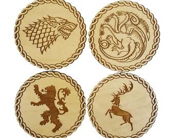 Game of Thrones Inspired Wooden Coasters - Set of 4 Main House Sigils - Maple Wood Veneer
