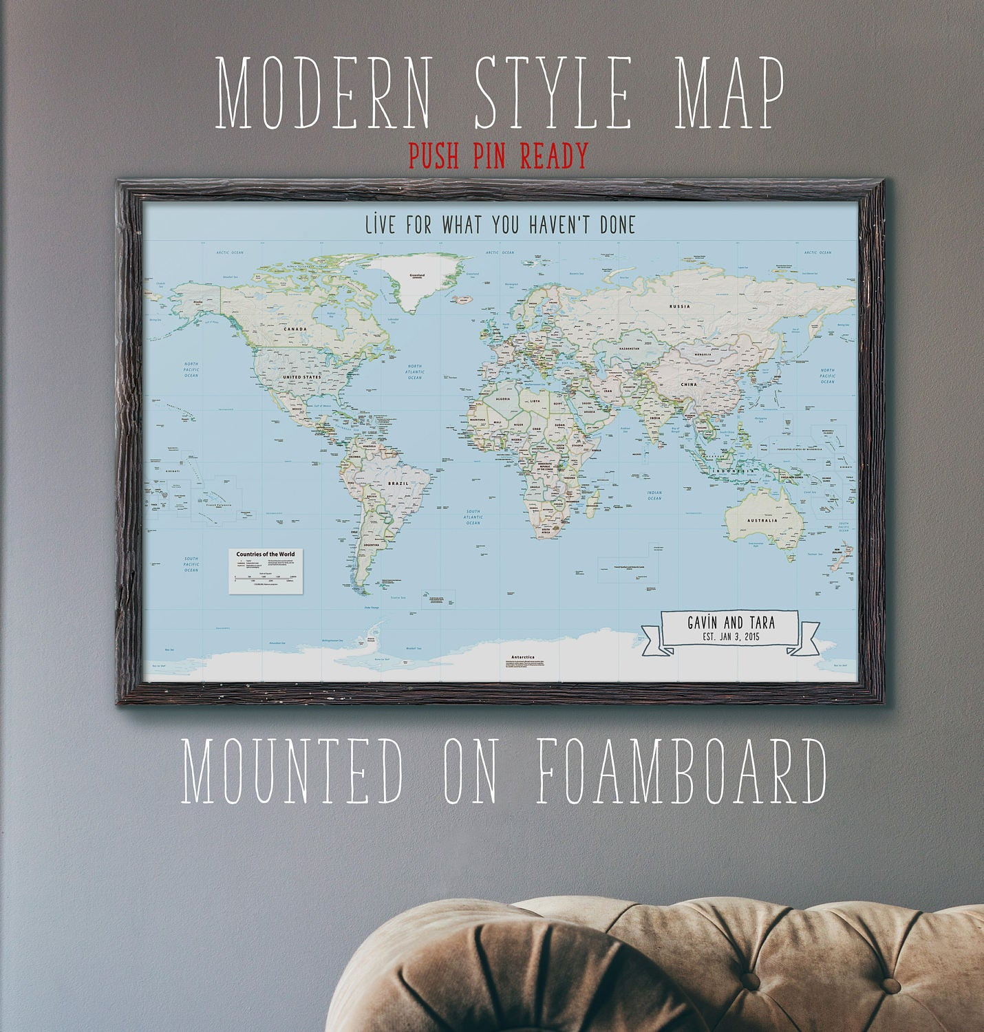 Push pin mounted world travel map modern style foam board zoom gumiabroncs Gallery