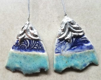 Reduced -- Ceramic Earrings Charms Pair with Decorative Tinwork - You Choose Metal Color - #a60