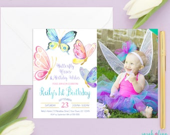 Butterfly Invitation Butterfly Birthday Party Birthday Invitation Butterfly Invite First 1st Birthday Printable Butterflies Photo Garden