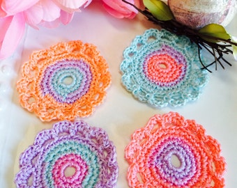 4 Crochet flowers, Spring color set. Easter egg colors...Use for decorating, scrap booking, brooches, headbands & more, flower appliqués