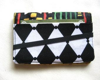 Visitenkarten Halter Mini Geldbörse - Bifold innen außen Brieftasche in afrikanische Batik Wachs-Print mit rot-grün und schwarz