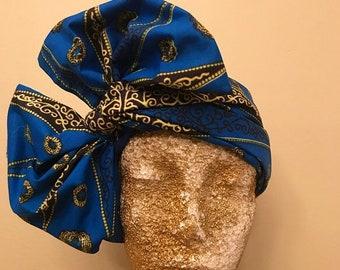Blue and Lime Kuchena Half Head Wrap