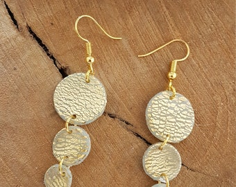 Polymer clay earrings / model LUNA / transparent polymer clay peach and gold / per CREAPAM polymer clay