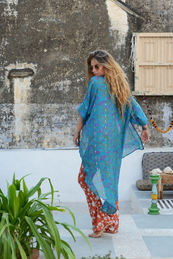 BLUE PAISLEY KIMONO - A symmetrical Kimono - Silk Cover Up - Beach - Kaftan - Summer - Festival fashion - Maxi dress - Upcylce - 60's - 70's