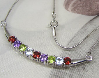 Garnet Amethyst Peridot Blue Topaz 925 sterling silver necklace. Rhodium plated 925 sterling silver jewelry natural gems. Evening women accessory