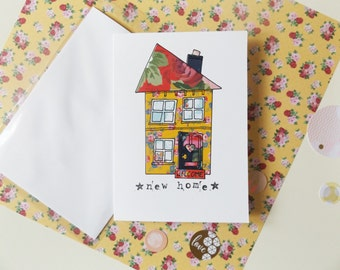 """New house card / housewarming / moving card / new home card / handmade / unique / collage / 5""""x7"""" / bright colourful card"""