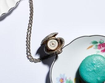 Vintage Clock Pendant Necklace