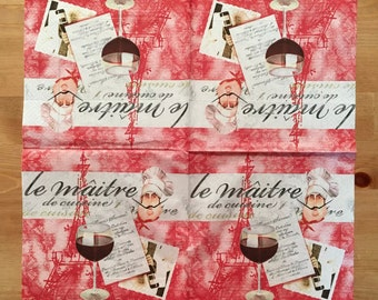 PN-148. le maitre ,* Price is for one napkin *, Unusual Paper Napkins , Collectibles Scrapbooking , Napkins for decoupage