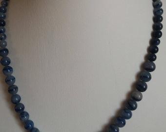 Blue Aventurine, stone of serenity, progressive beads necklace.