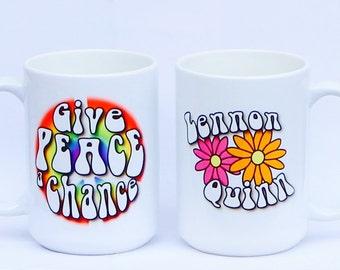 Give Peace a Chance Mug, Monogrammed Coffee Mug, Peace, Peace and Coffee Mug, Coffee Gift, Custom Mugs, Hippy Coffee Mug, Peace, Rainbows