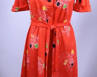 Leslie J I. Magnin Orange Abstract Dress